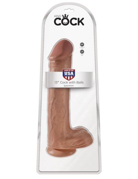 Фаллоимитатор-гигант на присоске загорелый King Cock 13 Cock with Balls