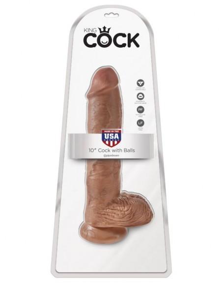Фаллоимитатор-гигант загорелый King Cock 10 Cock with Balls