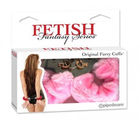 Меховые наручники-металл розовые Fetish Fantasy Series Original Furry Cuffs Pink