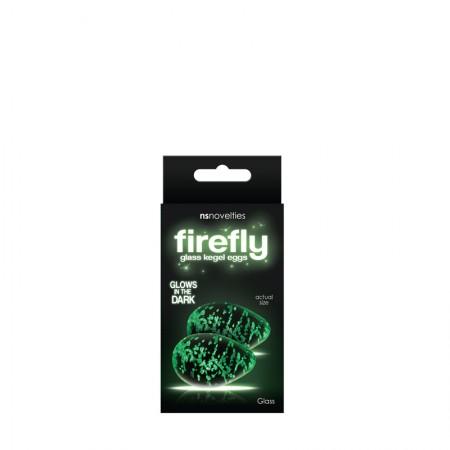Вагинальные яички для тренировок Кегеля, стеклянные, светящиеся в темноте Firefly Glass - Kegel Eggs - Clear