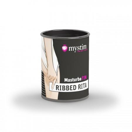 Компактный универсальный минимастурбатор рельеф гладкие ребрышки Mystim MasturbaTIN Ribbed Rita - Lemalla