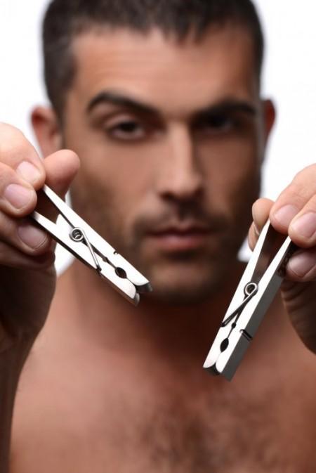 Металлические зажимы на соски в виде бельевых прищепок Tom of Finland Bros Pin Stainless Steel Nipple Clamps