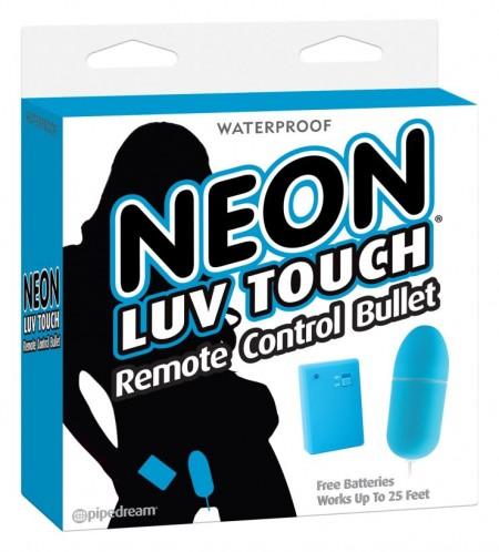 Неоновая голубая вибропуля на пульте ДУ Neon Luv Touch Remote Control Bullet