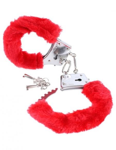 Наручники с красным мехом металлическиеFetish Fantasy Series Beginner's Furry Cuffs - Red