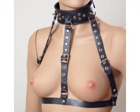 Ошейник-сбруя черного цвета из натуральной кожи на торс и шею