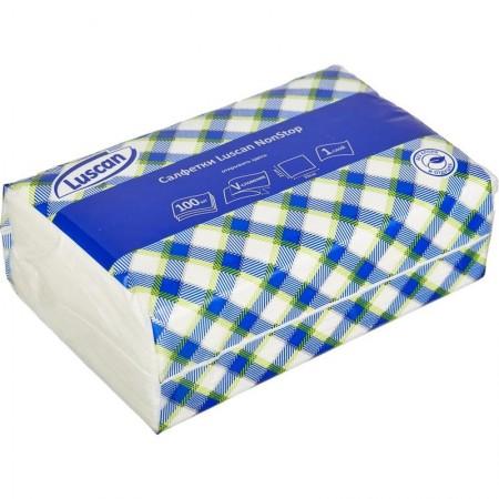Luscan NonStop Салфетки бумажные 1слбелые цел1/4 слож 100л/па