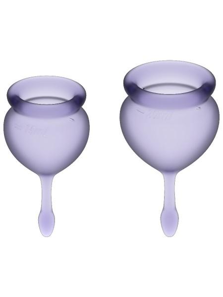 Feel Good Menstrual Cup Lilla Набор менструальных чаш, 2шт, 15 и 20 мл с хвостиком-капелькой
