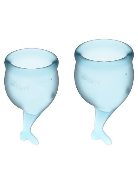 Feel Secure Menstrual Cup Light Blue Набор менструальных чаш 2 шт, 15 и 20 мл с хвостиком