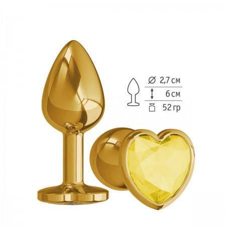 Анальная втулка Gold малая с желтым кристаллом